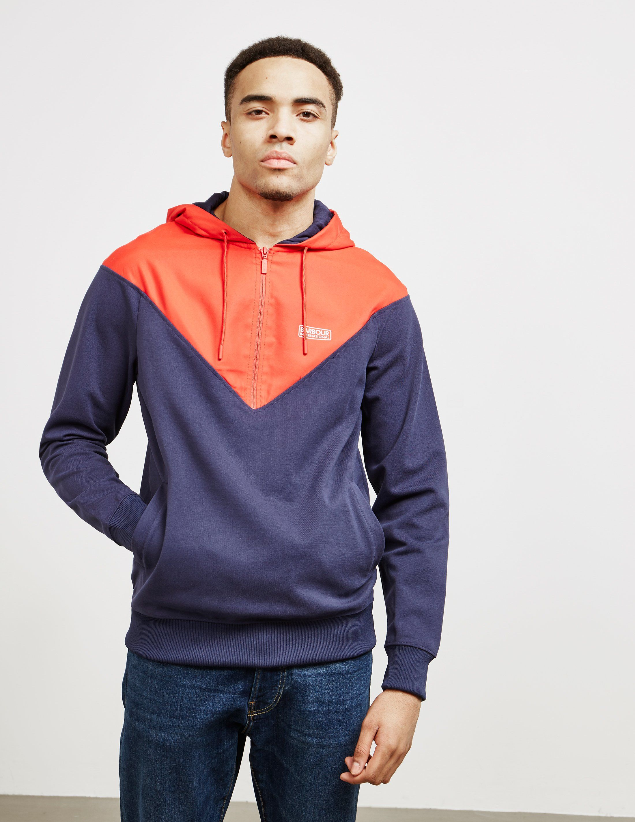 Barbour International Chevron Half Zip Hoodie