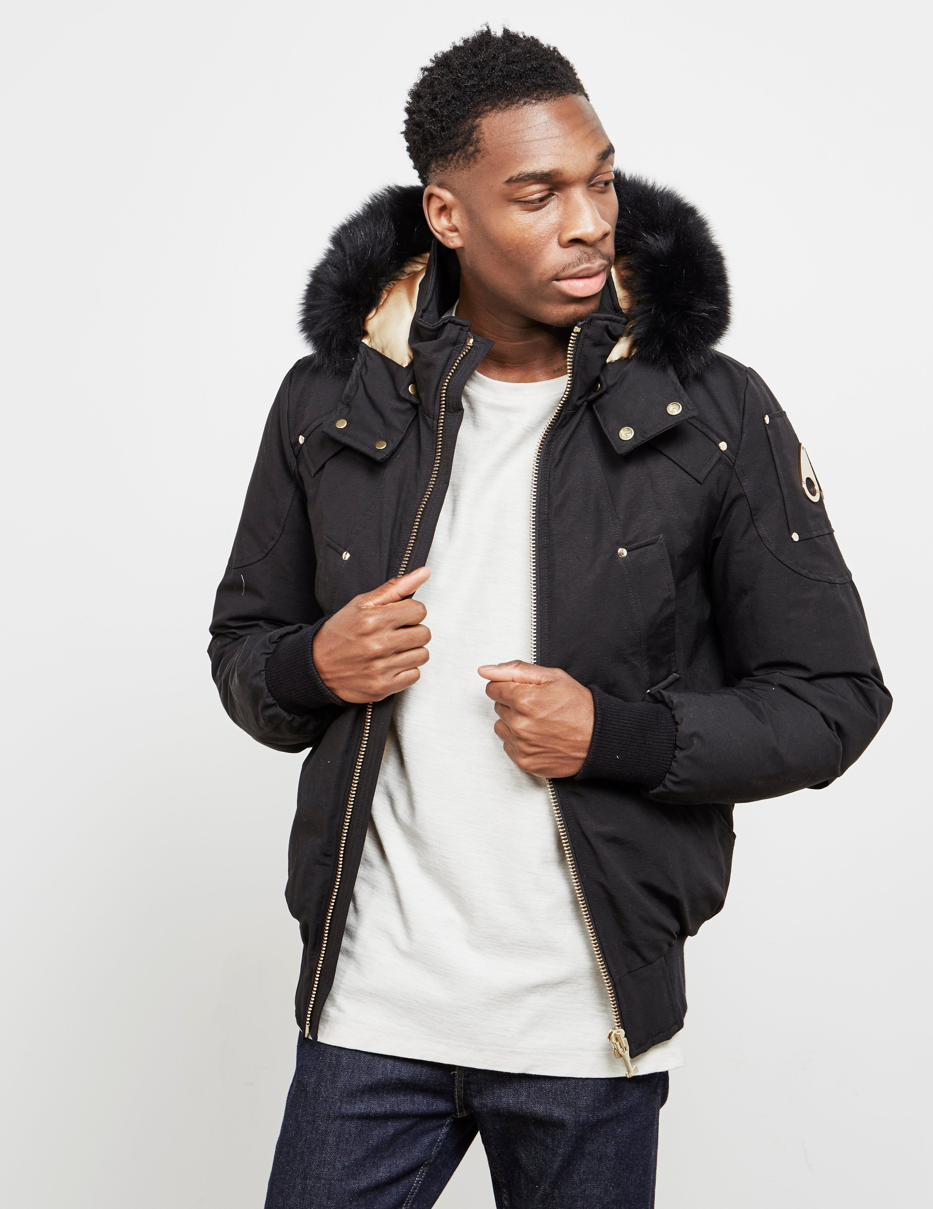 Moose Knuckles Fur Hooded Bomber Jacket