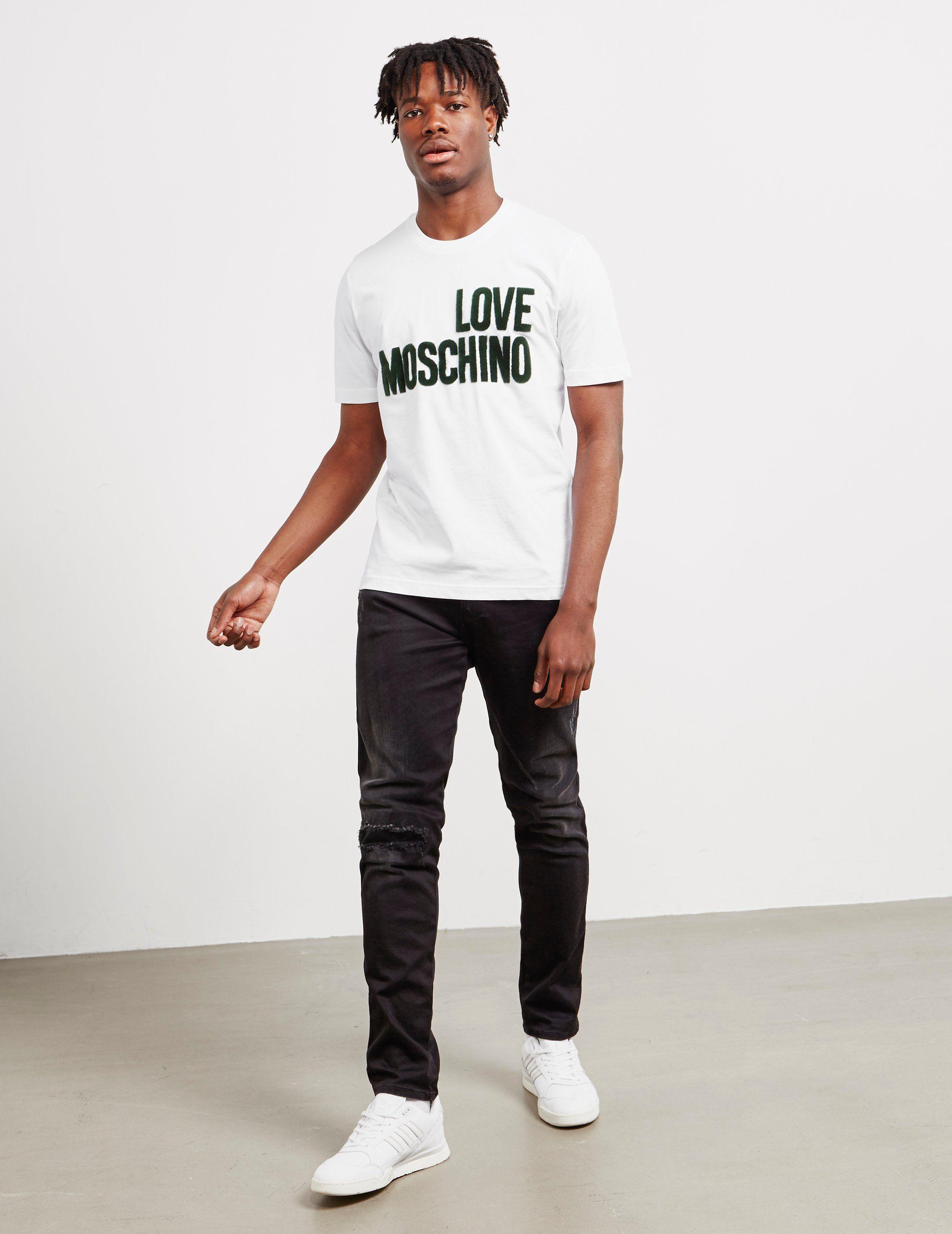 Love Moschino Felt Logo Short Sleeve T-Shirt