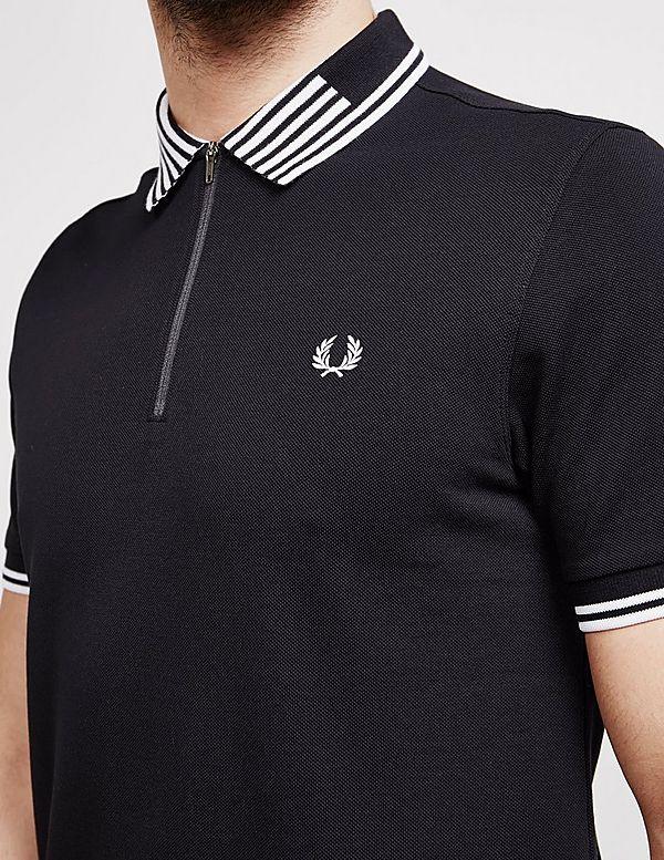 e991097a1b Fred Perry Stripe Collar Short Sleeve Zip Polo Shirt