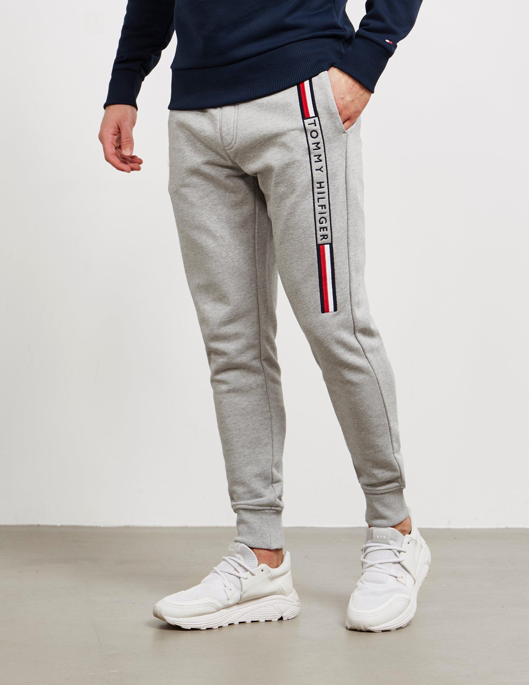 Tommy Hilfiger Logo Stripe Cuffed Fleece Pants