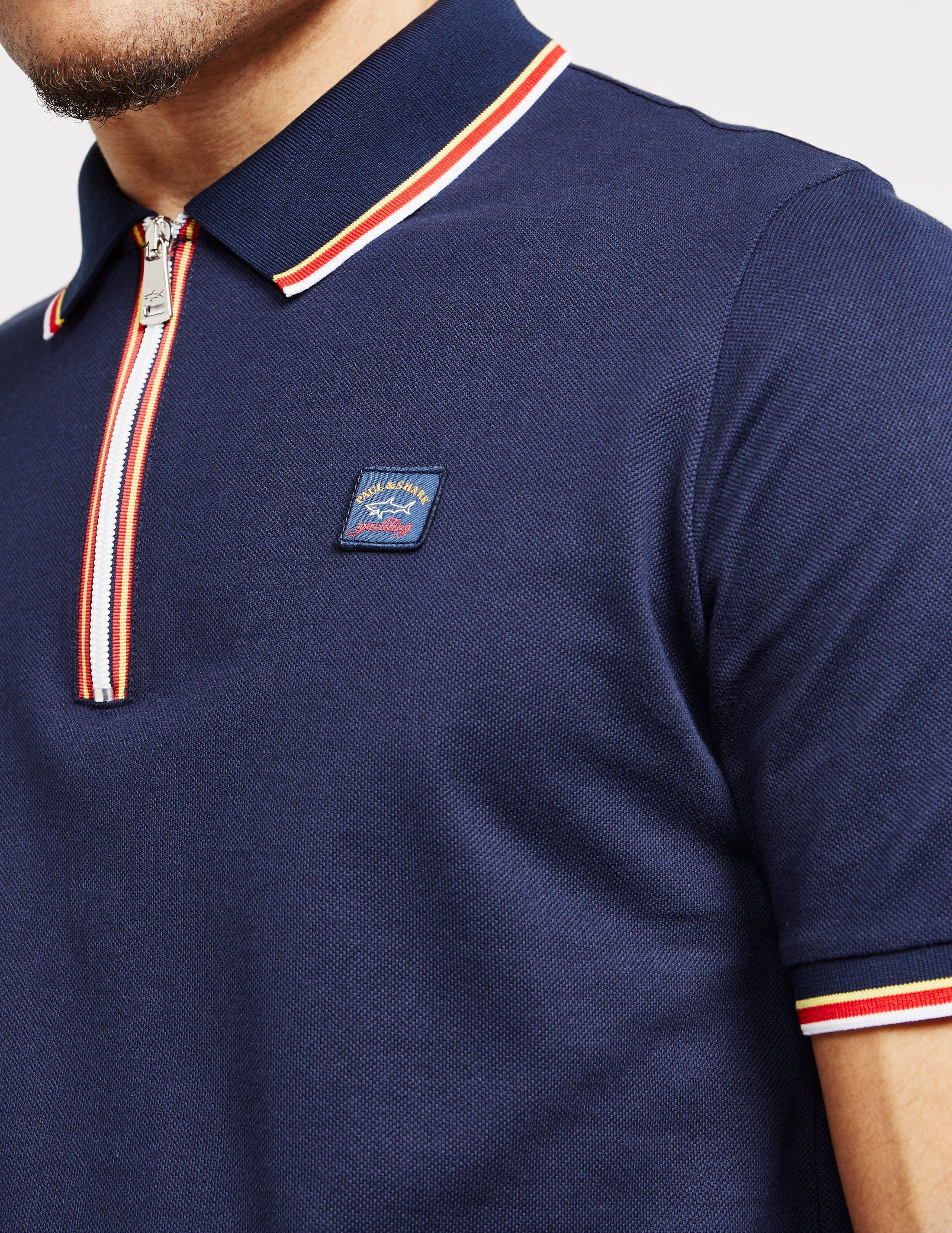 Paul and Shark Tape Placket Short Sleeve Polo Shirt