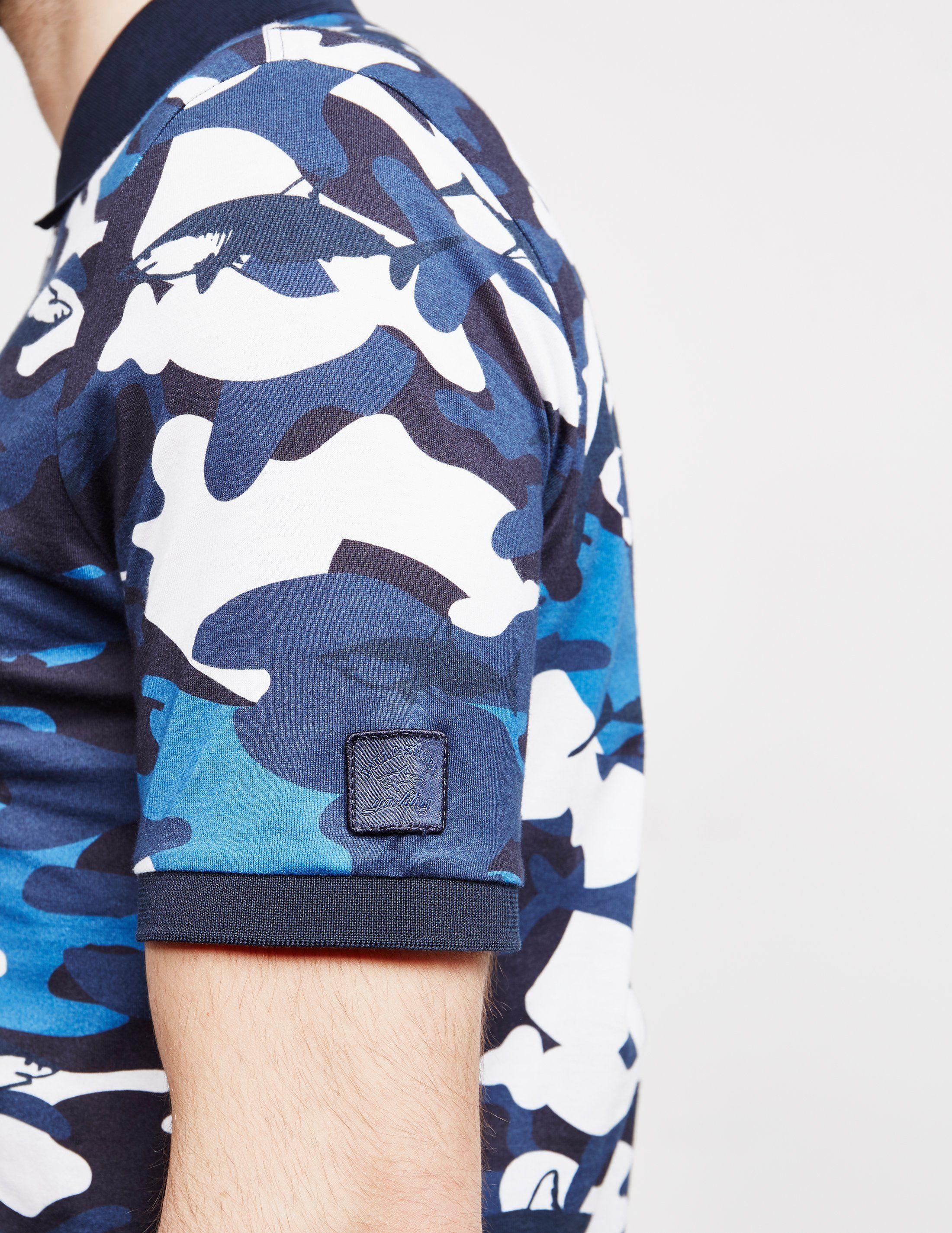 Paul and Shark Camouflage Short Sleeve Zip Polo Shirt