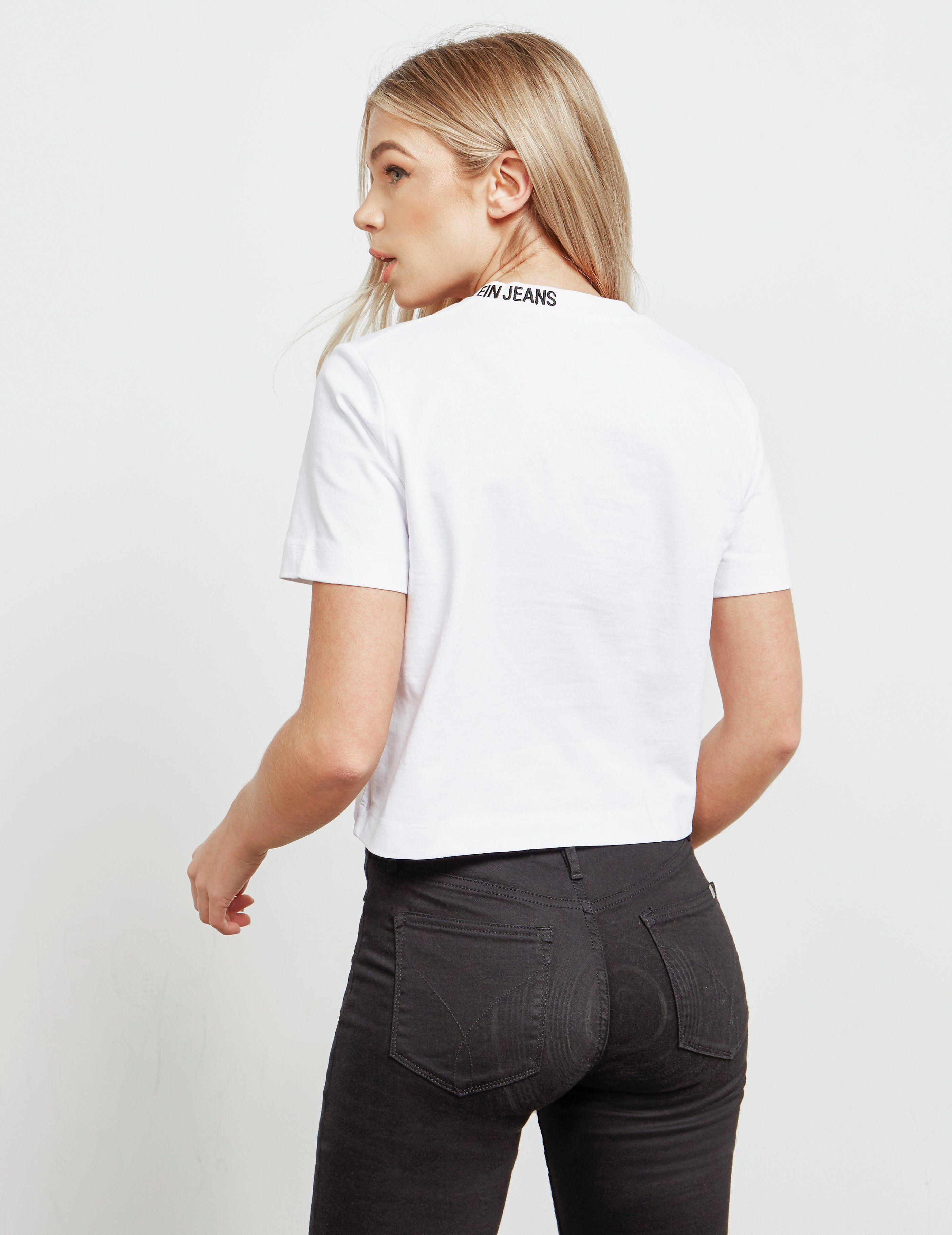 Calvin Klein Jeans Neck Logo Crop Short Sleeve T-Shirt