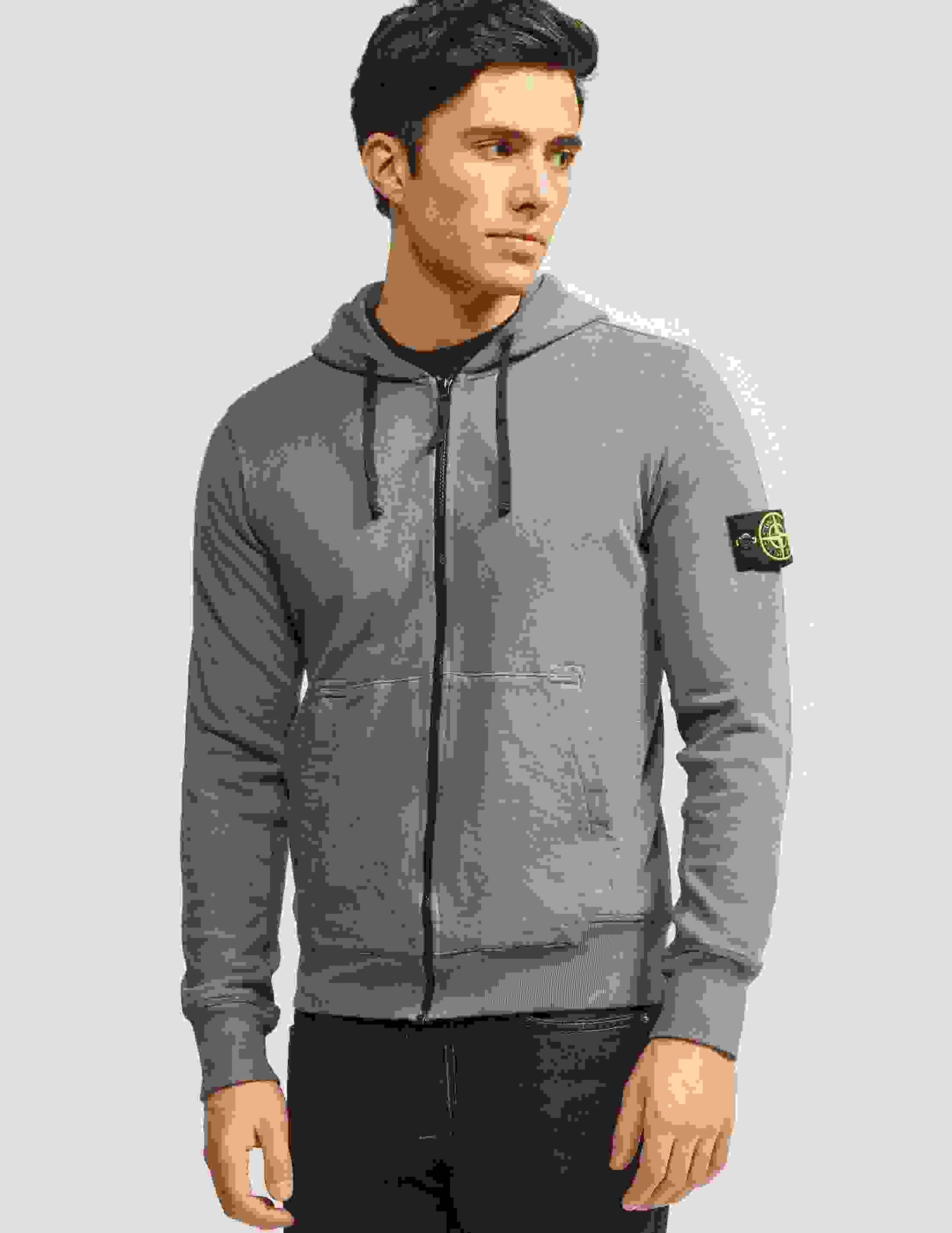 Stone Island Zip Through Hooded Dyed Sweatshirt - Tessuti
