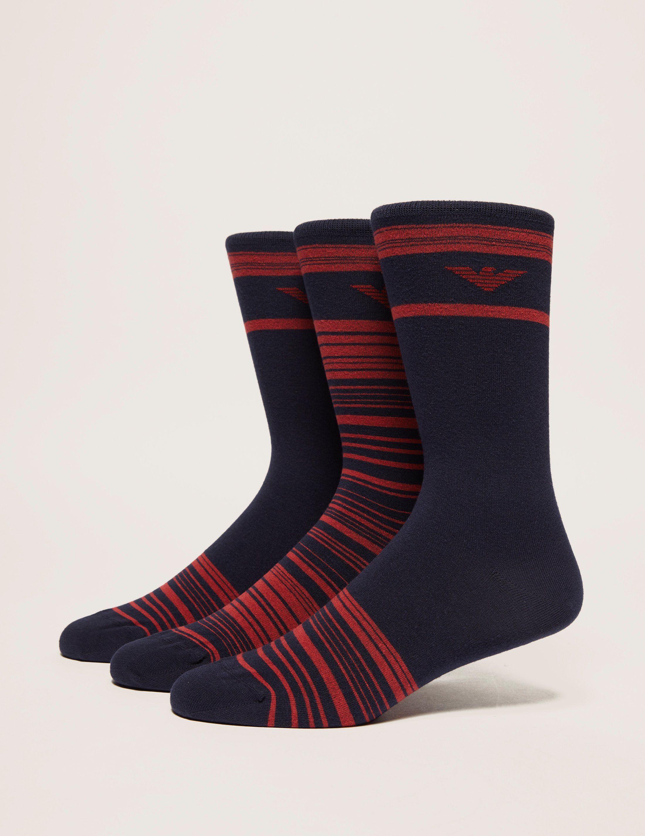 Emporio Armani 3 Pack Stripe Sock