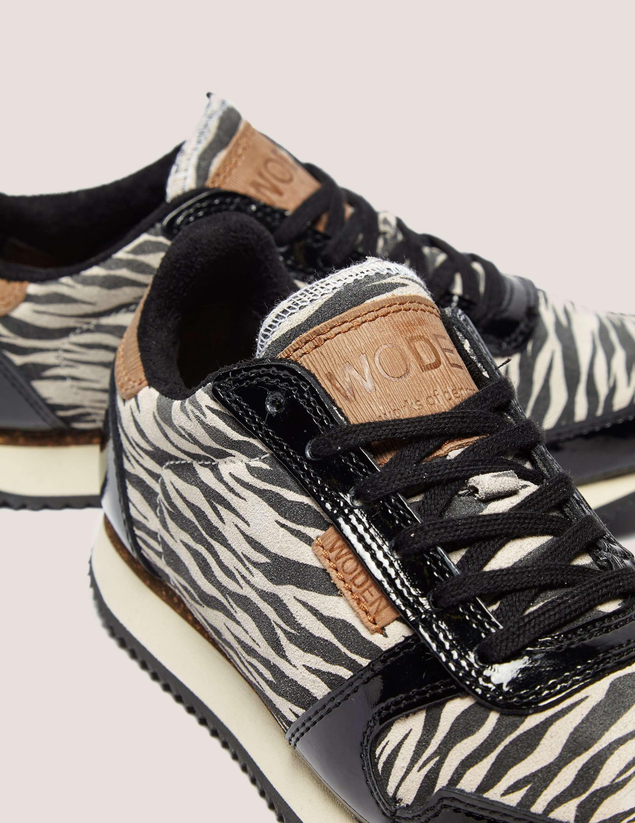 WODEN Animal White Zebra Trainers