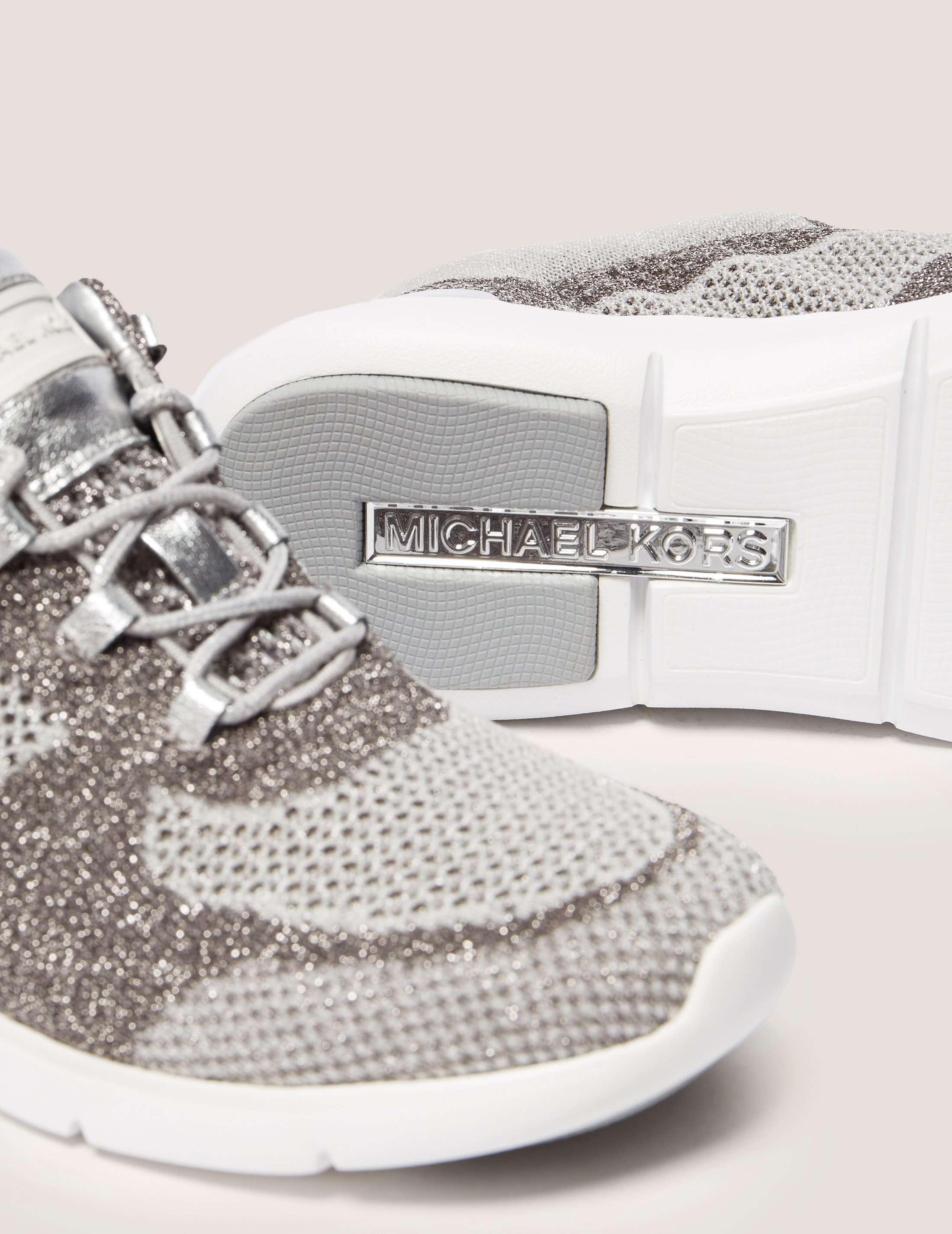 Michael Kors Skyler Metallic Knit Trainer