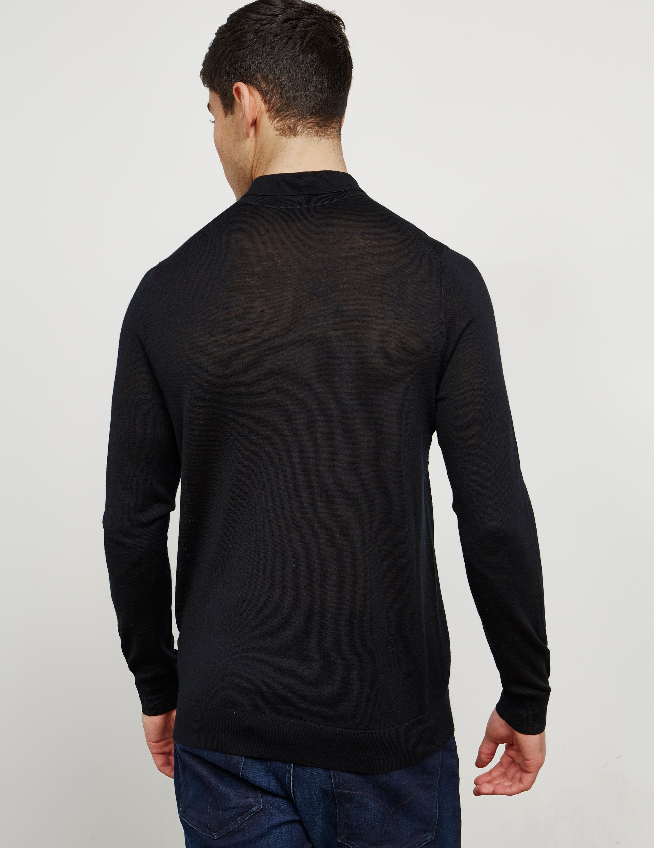 HUGO Knit Long Sleeve Polo Shirt