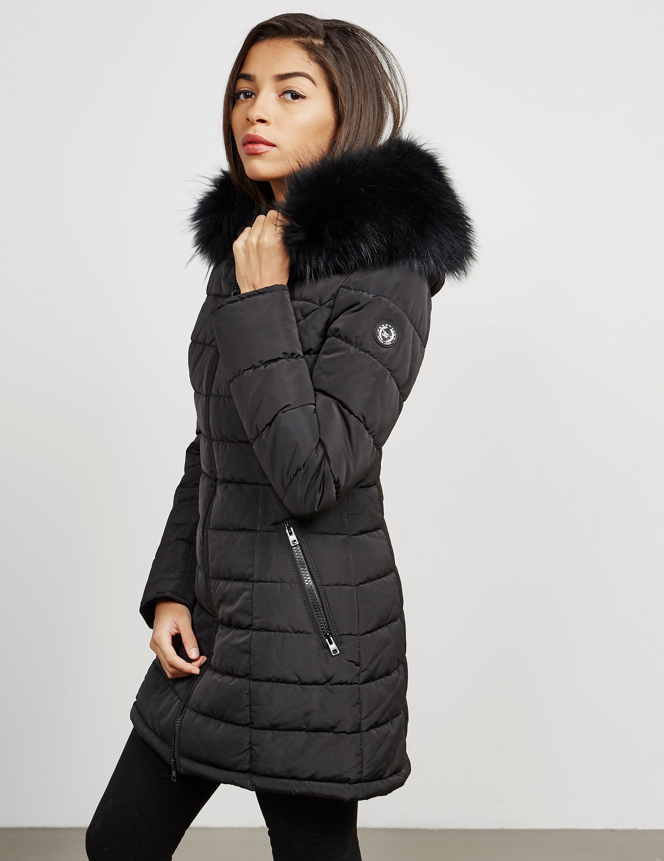 quilt long zoom coat s en women black to loading quilted size padded hooded kiabi