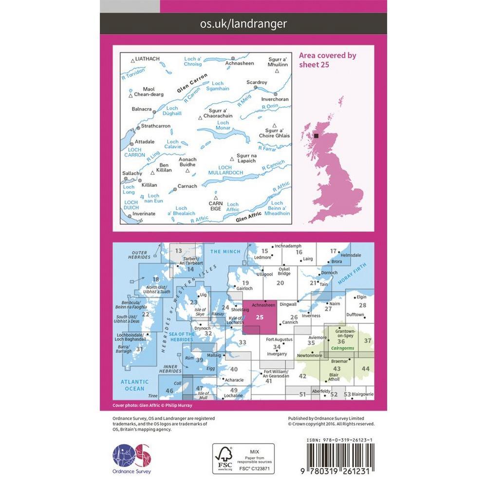 Ordnance Survey OS Landranger Map 25 Glen Carron & Glen Affric