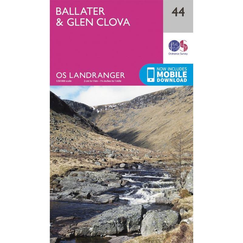 OS Landranger Map 44 Ballater, Glen Clova