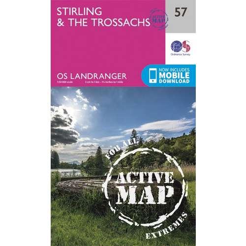 Landranger Active Laminate 57 1:50 000 Stirling & The Trossachs