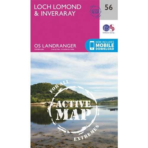 Landranger Active Laminate 56 1:50 000 Loch Lomond & Inveraray