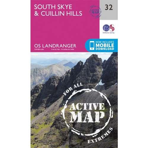 Landranger Active Laminate 32 1:50 000 South Skye & Cuillin Hills