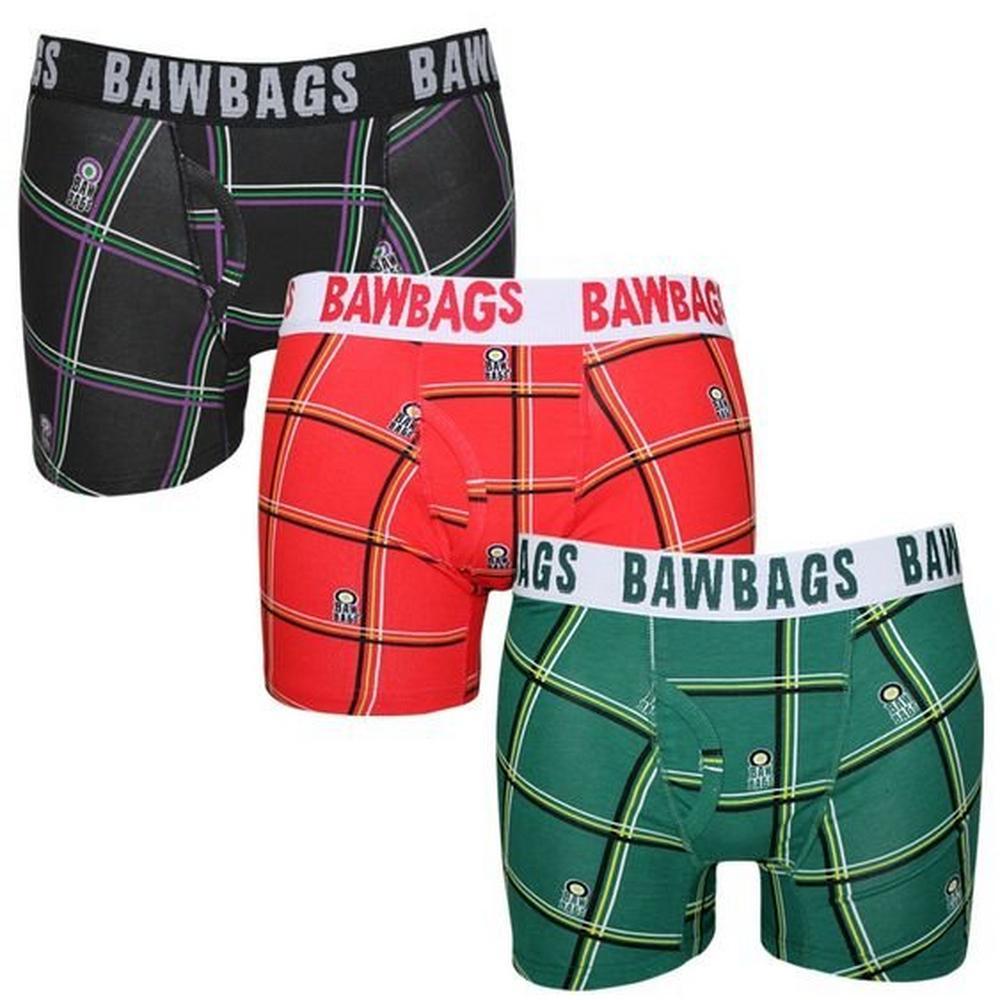 Bawbags Men's Cotton Boxers 3 Pack Tartan