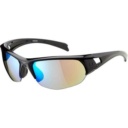 Mission Glasses Gloss Black Frame Blue Mirror Lens