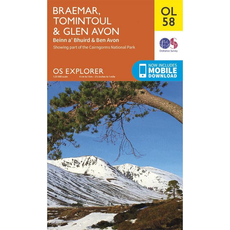 OS Explorer Map OL58 Braemar, Tomintoul & Glen Avon