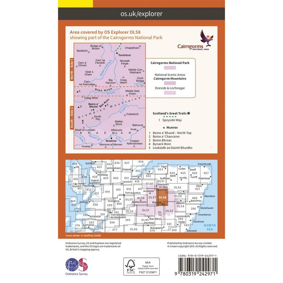 Ordnance Survey OS Explorer Map OL58 Braemar, Tomintoul & Glen Avon