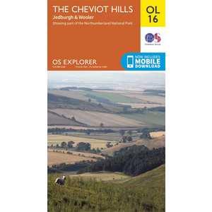 OS Explorer OL16 The Cheviot Hills Map
