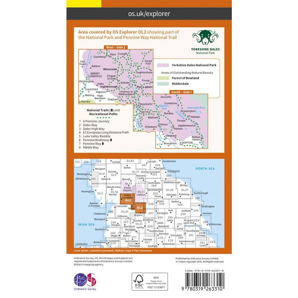 Ordnance Survey OS Explorer Map OL2 Yorkshire Dales - Southern & Western