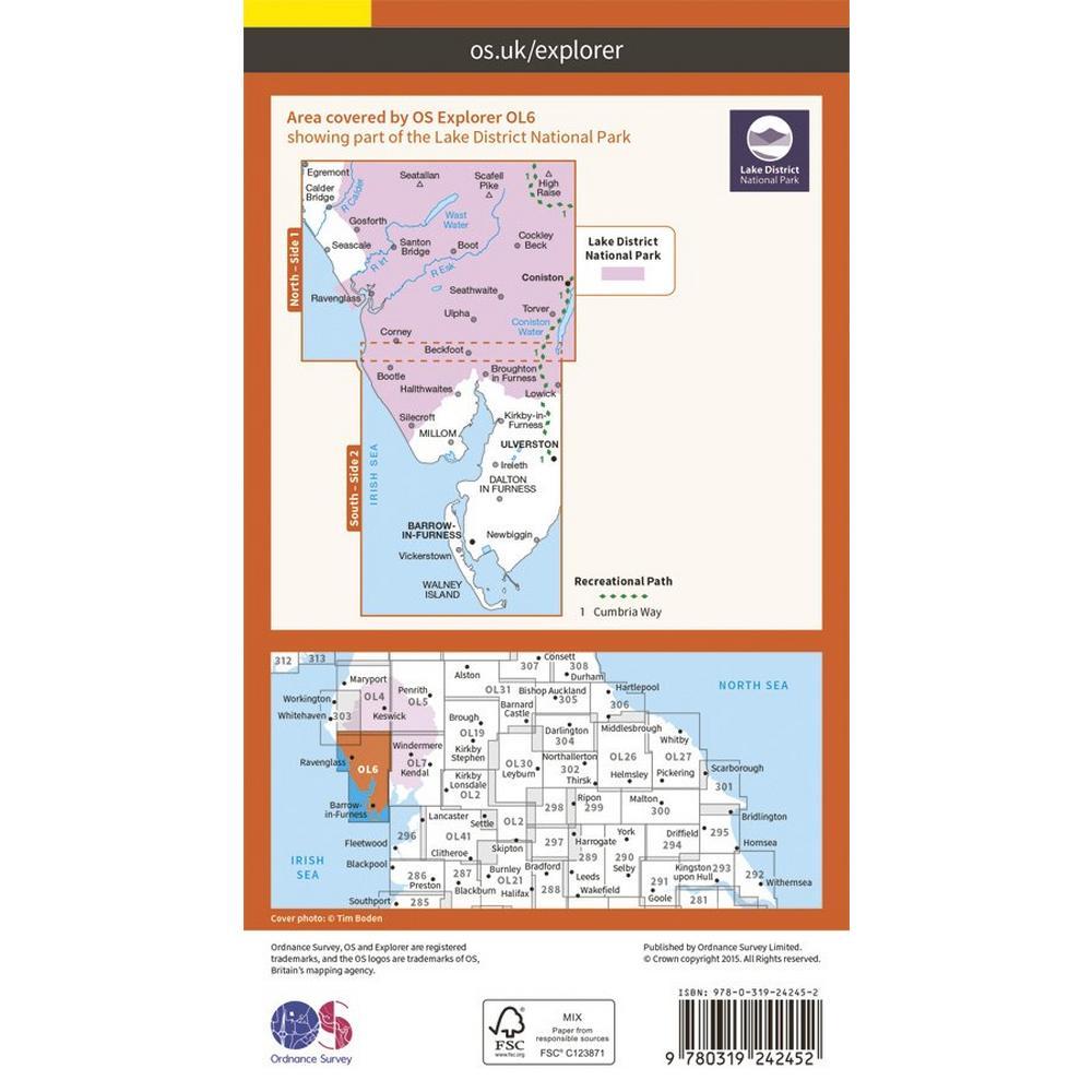 Ordnance Survey OS Explorer Map OL6 The English Lakes - South Western
