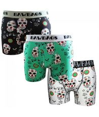 Men's Bawbags 3 Pk Day Of The Dead Boxers