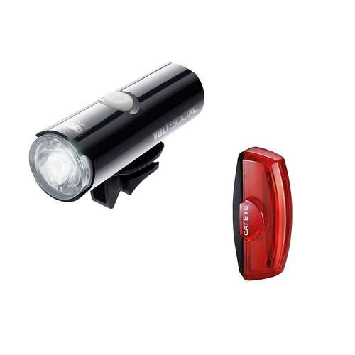 CATEYE VOLT 500 XC FRONT LIGHT & RAPID X2 REAR USB RECHARGEABLE LIGHT SET