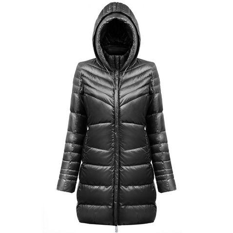 Black Poivre Blanc Women s Longline Down Jacket ... b20797c0f
