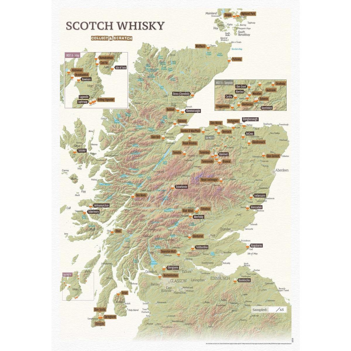 Cordee Whisky Distillery Scratch Map A3