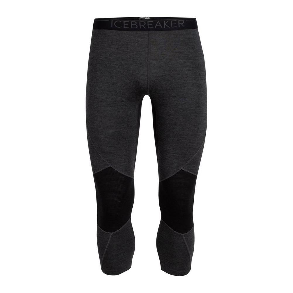 Icebreaker Men's BodyfitZone Merino 260 Zone 3/4 Thermal Leggings - 2020 - Jet Heather Black