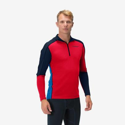 Norrona Equaliser Merino Zip Neck - True Red/Olympian
