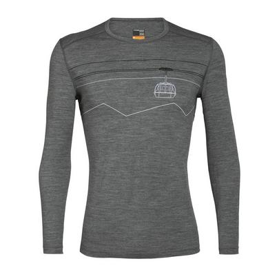 Icebreaker Men's Merino 200 Oasis Long Sleeve Crewe Thermal Top Peak to Peak Lift -  Gritstone Heather