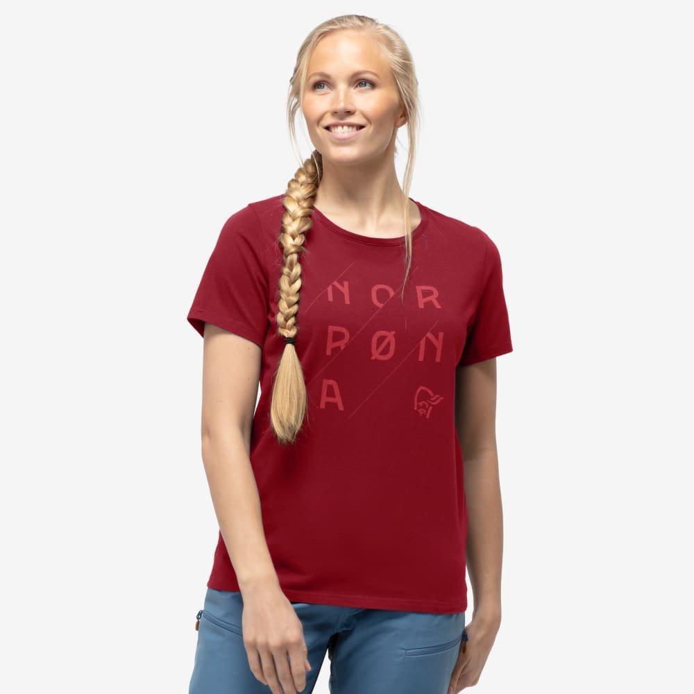 Norrona Women's /29 Cotton Slant Logo T-Shirt - Rhubarb