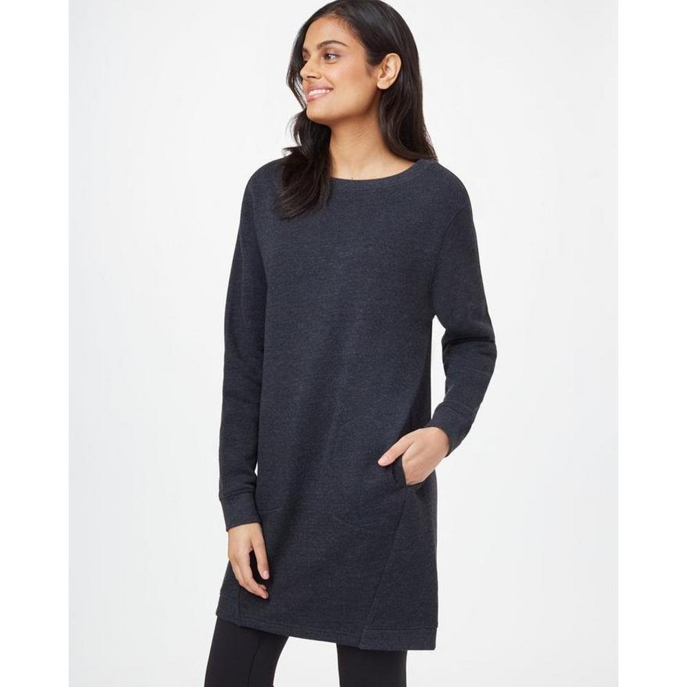 Tentree Women's Fleece Crew Dress - Meteorite Black