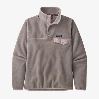 Patagonia Women's Lightweight Synchilla Snap-T Pullover - Furry Taupe w/Hazy Purple