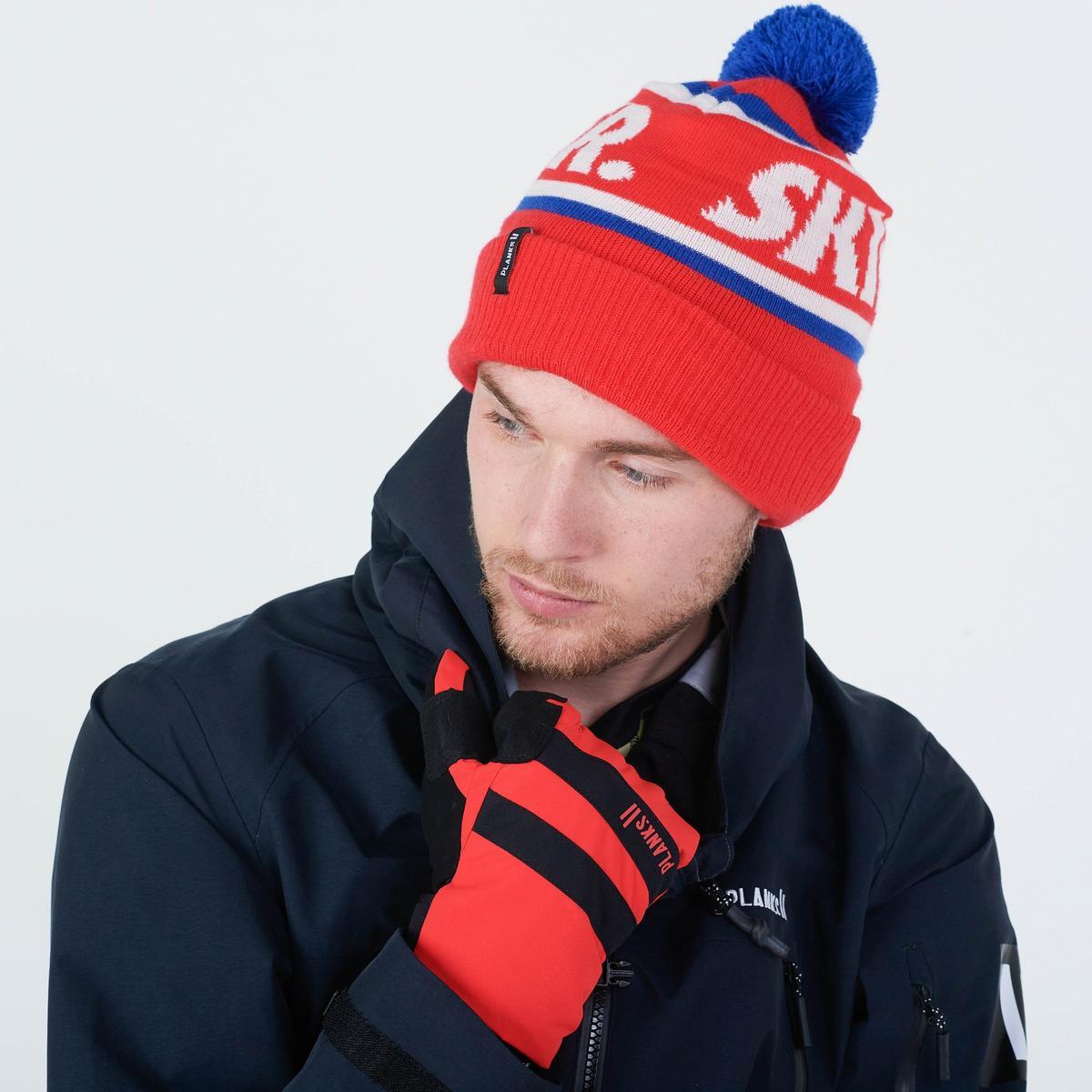 Planks Skier Bobble Hat - Hot Red