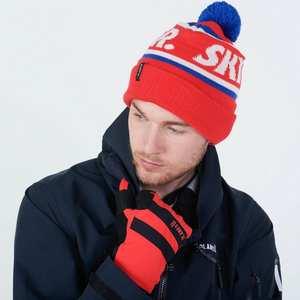 Skier Bobble Hat - Hot Red