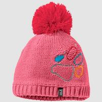 Kid's Paw Knit Cap - Coral Pink