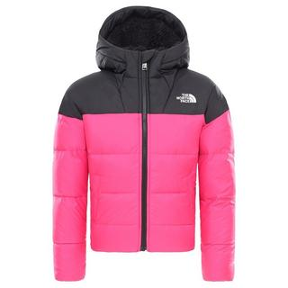 North Face INSULATED Jacket Girl's Moondoggy Down Hood Rage Pink