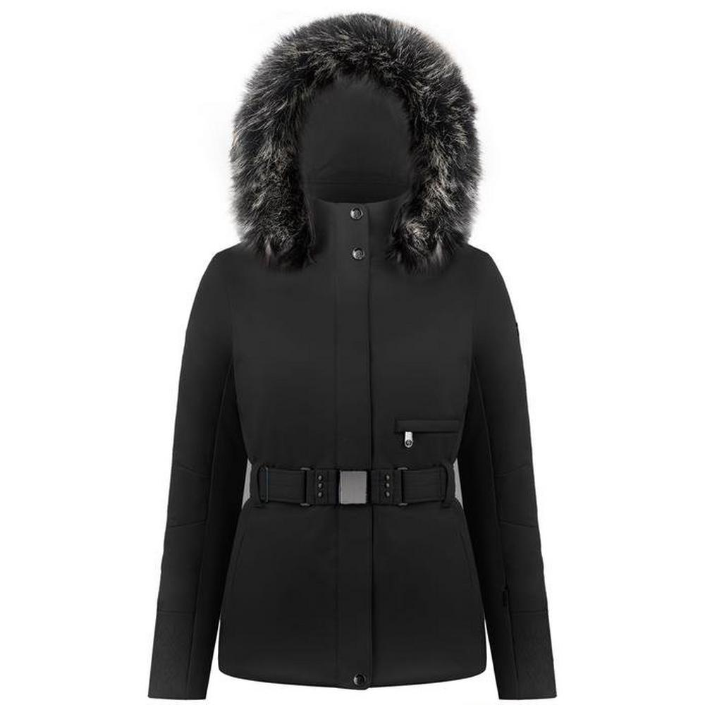 Poivre Blanc Women's Poivre Blanc Stretch Belted Ski Jacket - Black