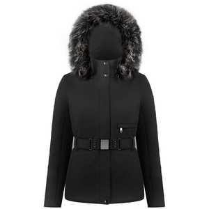 Women's Poivre Blanc Stretch Belted Ski Jacket - Black