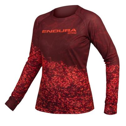Endura Women's MT500 Marble Long Sleeve Jersey Ltd - Cocoa Red