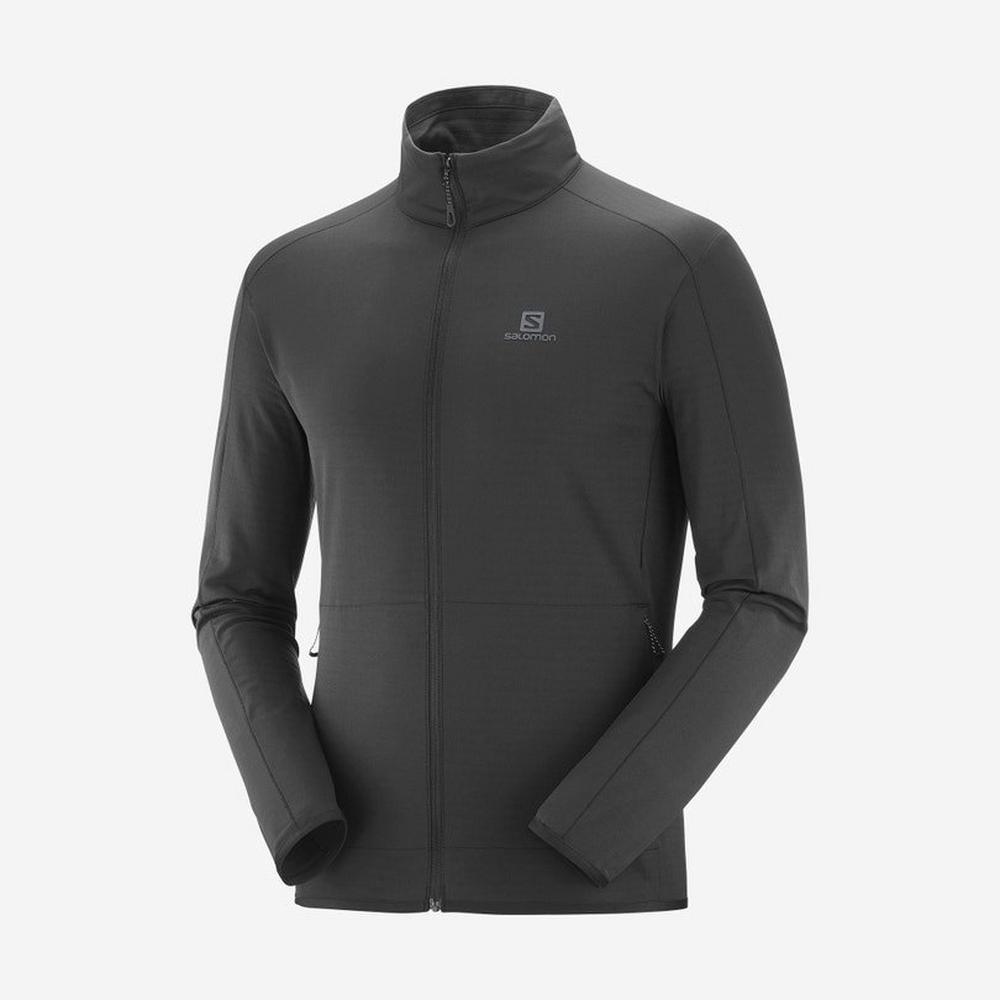 Salomon Men's Outrack Full Zip Mid Jacket - Black