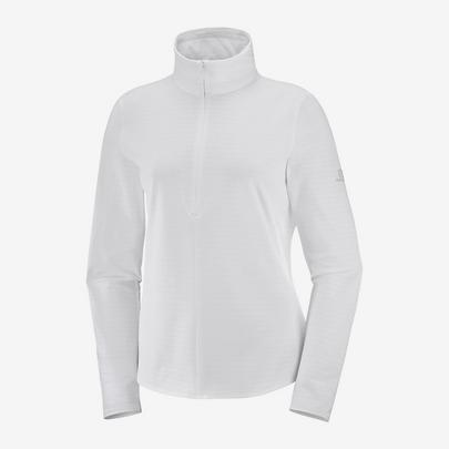 Salomon Women's Outrack Half Zip Midlayer - White
