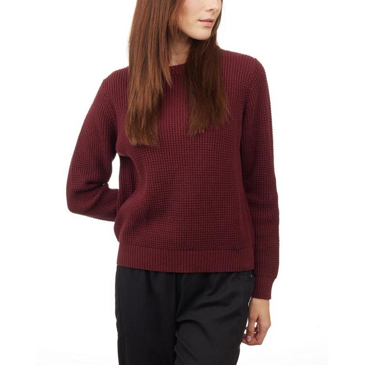 Tentree Women's Highline Cotton Crew Sweater - Red Mahogany