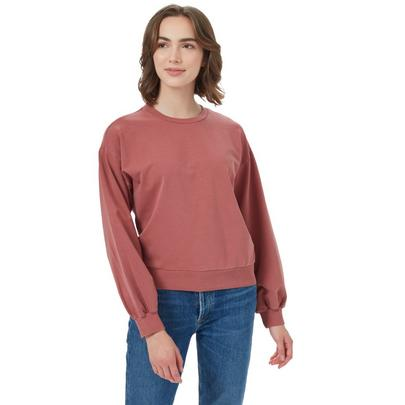Tentree Women's Balloon Sleeve French Terry Crew - Apple / Butter / Red