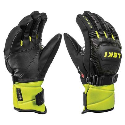 Leki World Cup Race Coach Flex S GTX Ski Glove - Black Ice / Lemon