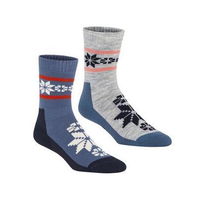 Kari Traa Women's Rusa Wool Sock 2 Pack - Blue / Grey