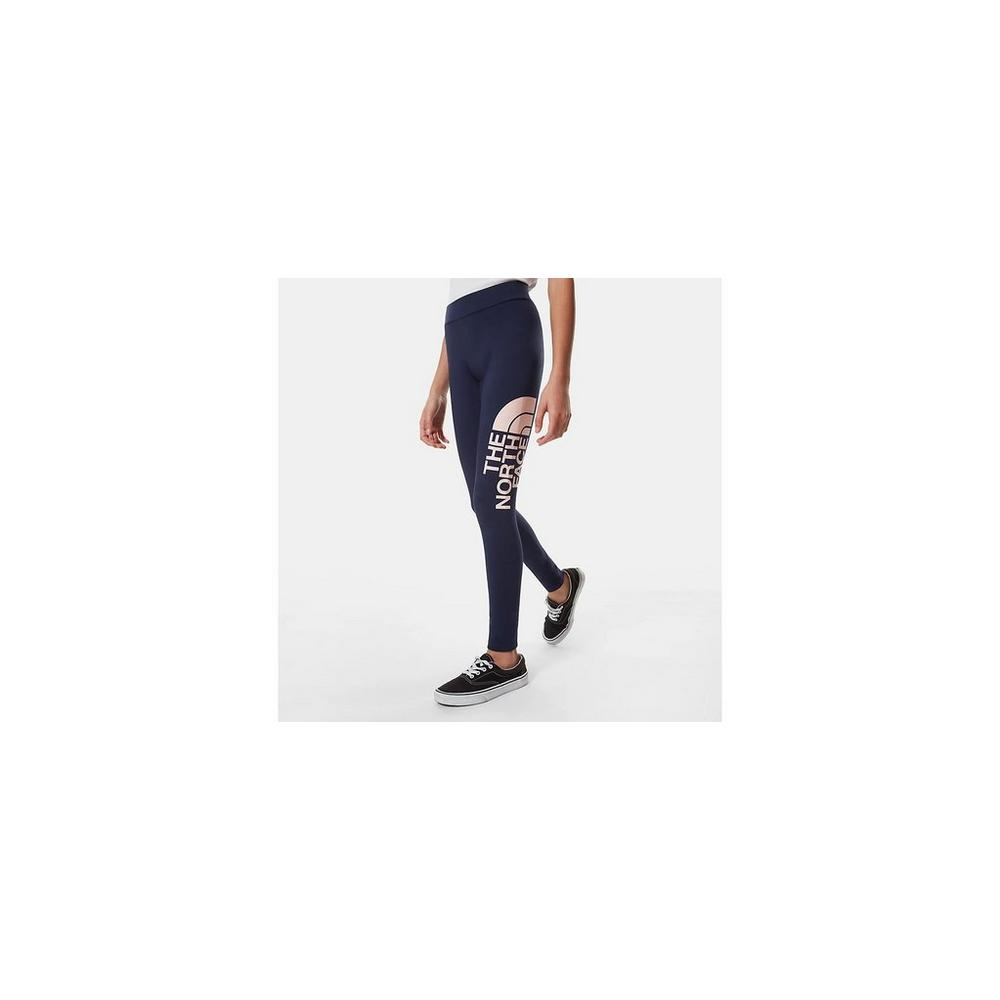 The North Face Girl's Cotton Big Logo Legging - Navy